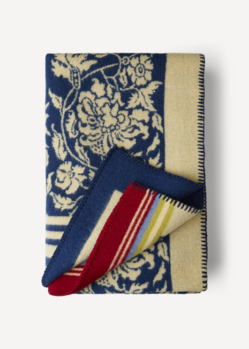 Hanna Oleana Blanket with Floral Pattern and Accent Stripes, 203B Blue