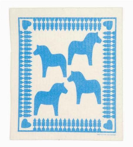 Swedish dish cloth, Blue Dala Horse design