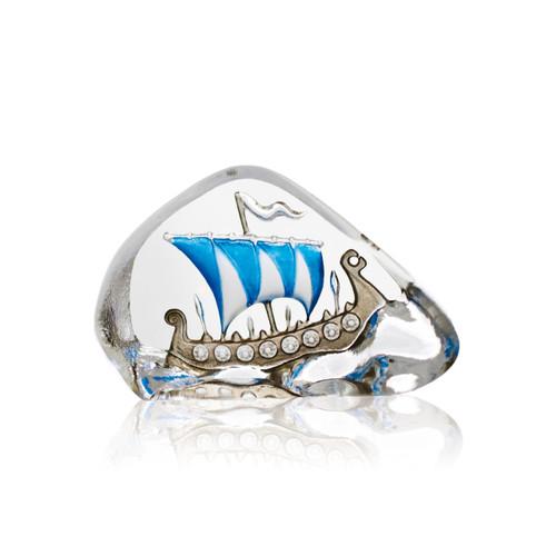 Mats Jonasson Mini Blue Sail Viking Ship