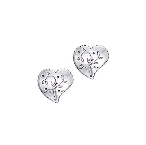 Silver Heart Pierced Earrings, Huldre of Norway
