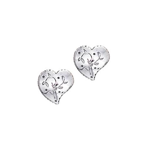 Silver Heart Pierced Earrings, Huldre of Norway