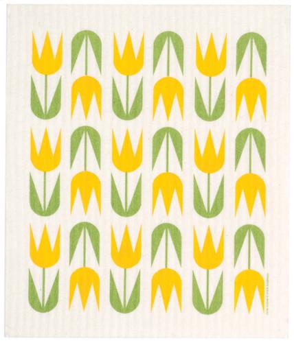 Swedish dish cloth, Yellow Tulips design