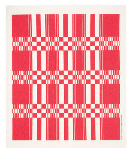 Swedish dish cloth, Red Folk Weave design