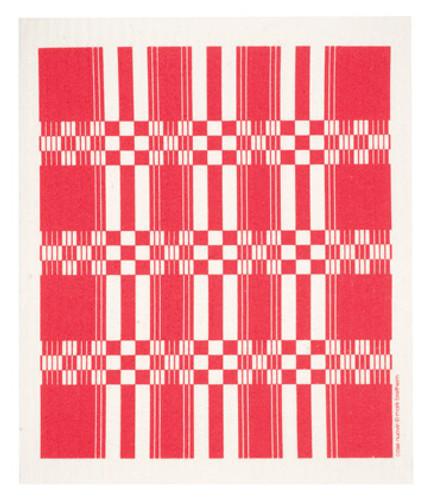Swedish dish cloth, Red Folk Weave design