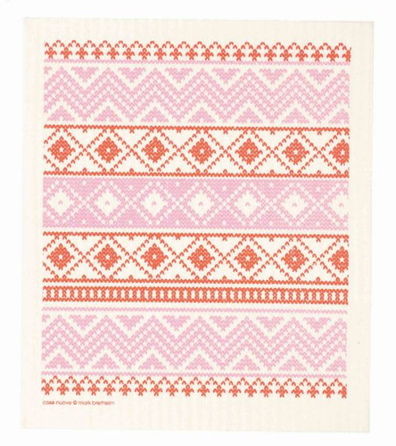 Swedish dish cloth, Red Knit design