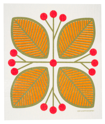 Swedish dish cloth, Orange Leaves and Berries design