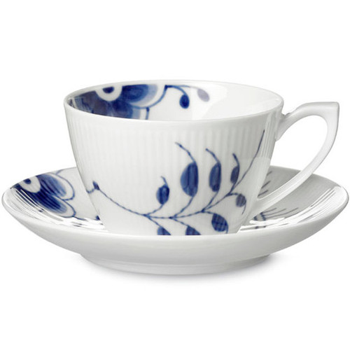 Royal Copenhagen Blue Fluted Mega Tea Cup and Saucer, 9.25 oz