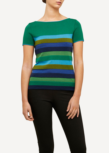 Juliette Oleana Short Sleeve Top with Wide Stripes, 310G Green