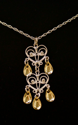 Double Heart Pendant -Five Tear- Pendant, Solje of Norway