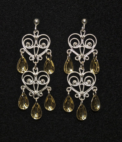 Double Heart - Five Tears- Earrings, Solje of Norway