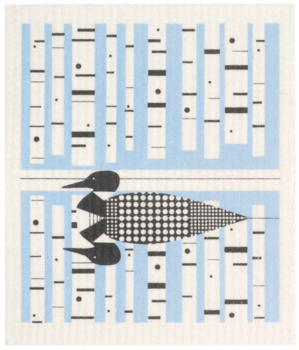 Swedish dish cloth, Blue Loon design
