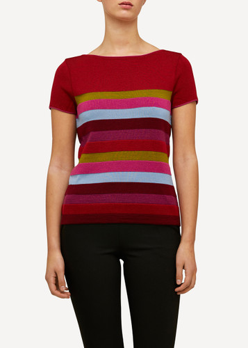 Juliette Oleana Short Sleeve Top with Wide Stripes, 310R2 Dark Red