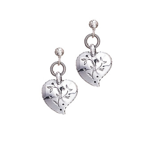 Silver Heart Dangle Earrings, Huldre of Norway