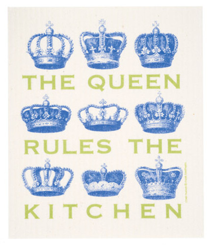 Swedish dish cloth, Blue Queen design