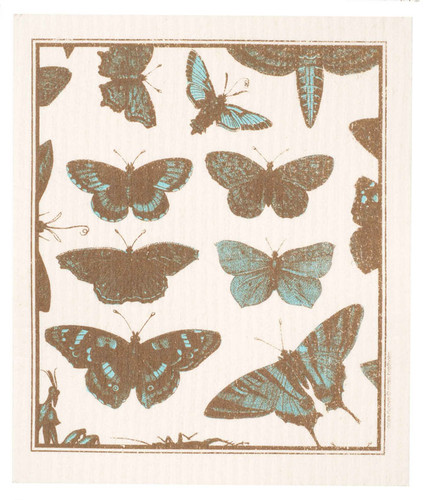 Swedish dish cloth, Aqua Butterflies design