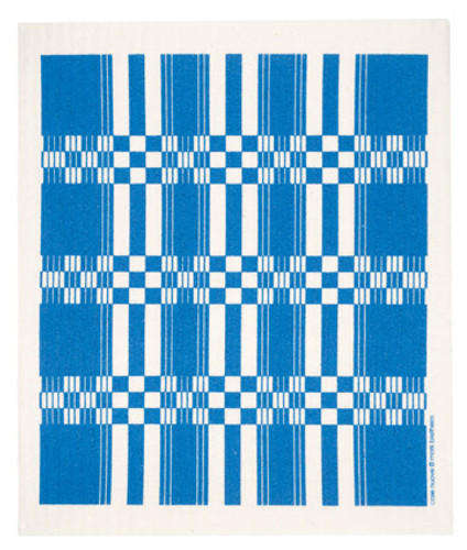 Swedish dish cloth, Blue Folk Weave design