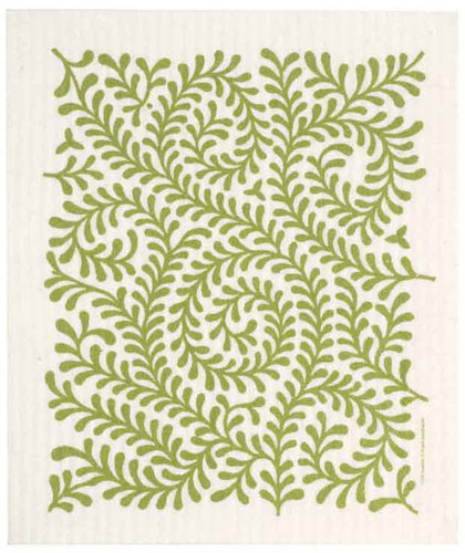 Swedish dish cloth, Green Leaves design