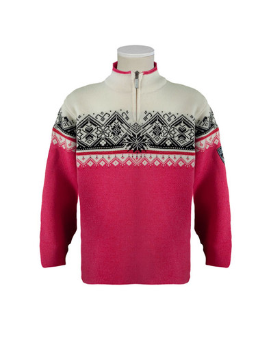 Dale of Norway, St. Moritz childrens sweater in Allium/Raspberry/Black/Off White, 9150-I