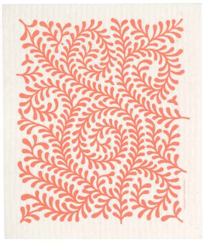 Swedish dish cloth, Orange Leaves design