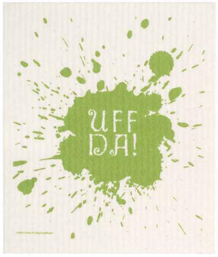 Swedish dish cloth, Green Uff-Da design
