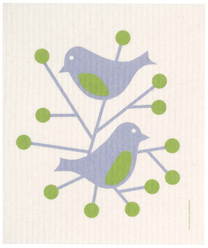 Swedish dish cloth, Blue Birds design
