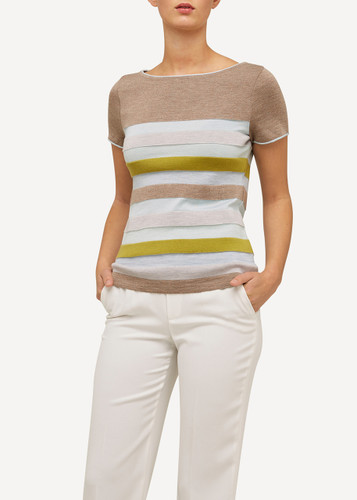 Juliette Oleana Short Sleeve Top with Wide Stripes, 310B Beige
