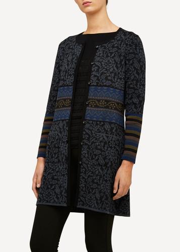 Oleana Silk Road Long Cardigan with Pockets, 168-O Black