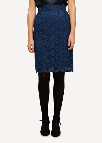 Lea Oleana Short Lace Skirt, 85F Blue