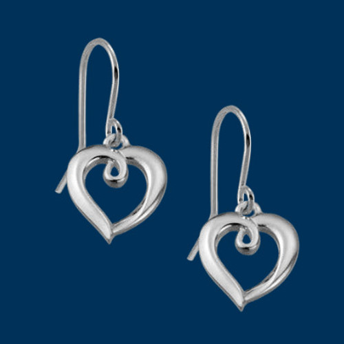 Looped Heart Earrings, Danish Silversmiths