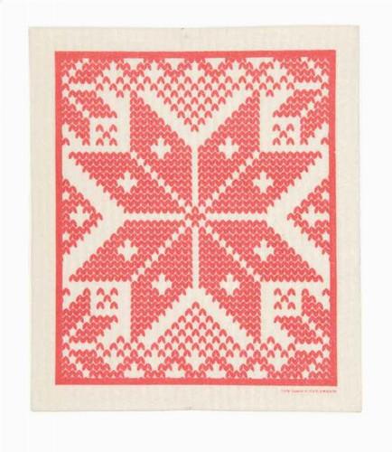 Swedish dish cloth, Red Selbu design