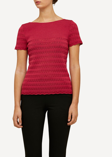 Oleana Short Sleeve Top with Lace Pattern, 309A Red-Pink