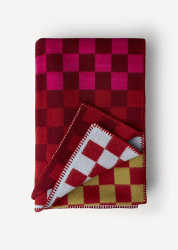 Oleana Blanket in a Pattern of Bold Small Squares, 213R Red
