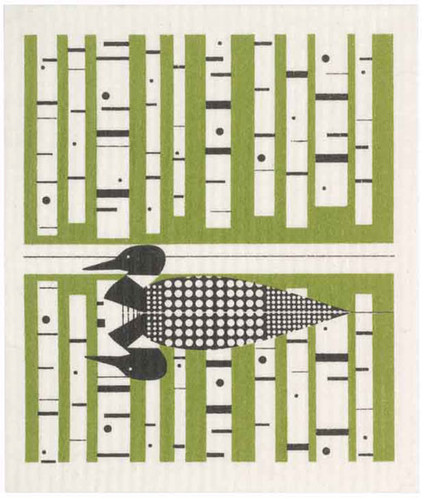 Swedish dish cloth, Green Loon design