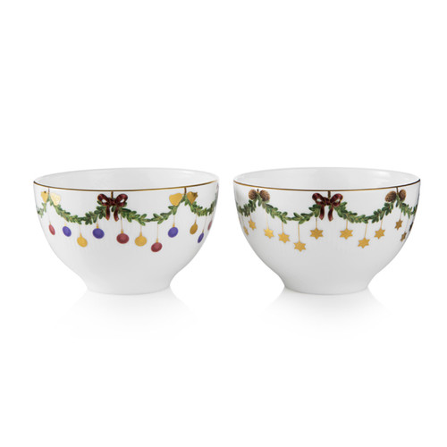 Royal Copenhagen Star Fluted Christmas Chocolate Bowls