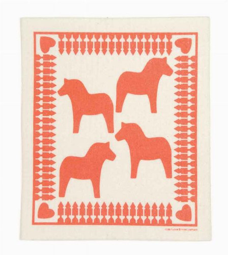 Swedish dish cloth, Red Dala Horse design