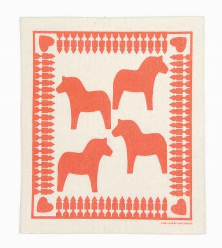 Swedish dish cloth, Red Dala Horse design