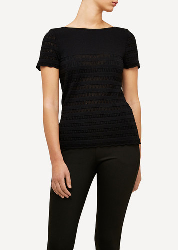 Oleana Short Sleeve Top with Lace Pattern, 309O Black/Grey