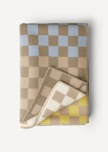 Oleana Blanket in a Pattern of Bold Small Squares, 213B Beige