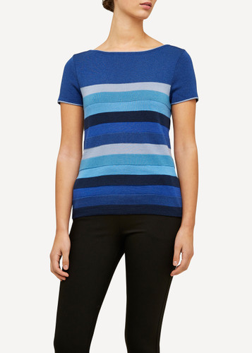 Juliette Oleana Short Sleeve Top with Wide Stripes, 310F Blue