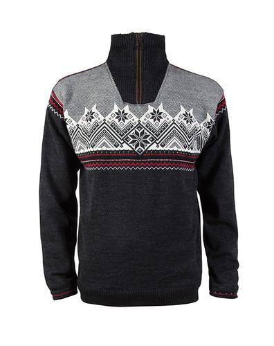Dale of Norway Glittertind Windstopper Sweater, Mens - Dark Charcoal/Raspberry/Black/Off White, 92881-E
