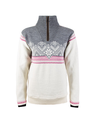 Dale of Norway, Glittertind ladies sweater in Off White/Light Charcoal/Allium/Smoke, 92981-A