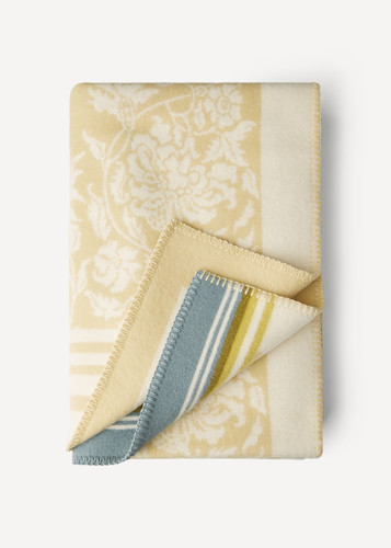 Hanna Oleana Blanket with Floral Pattern and Accent Stripes, 203E Beige