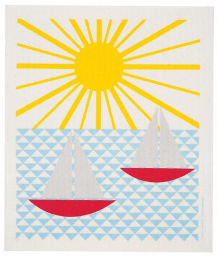 Swedish dish cloth, Sailboat design