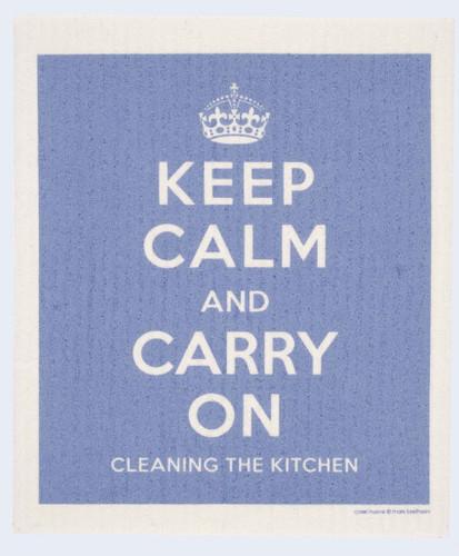 Swedish dish cloth, Blue Keep Calm design