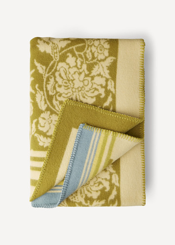Oleana Blanket with Floral Pattern and Accent Stripes, 203G Green
