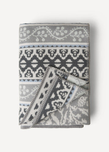 Oleana Blanket with a Delicate Floral and Accent Pattern,  212D Grey