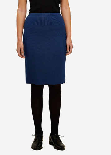 Ester Oleana Short Knitted Skirt, 321F Blue