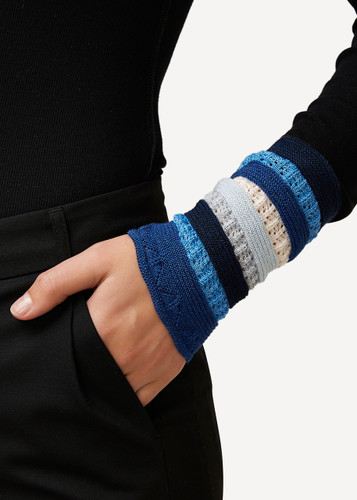 Viktoria Oleana Striped Textured Wristlet, 324FQ Cobalt Blue