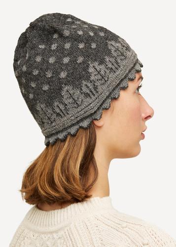 Oleana Striped Alpaca Hat, 407D Dark Grey