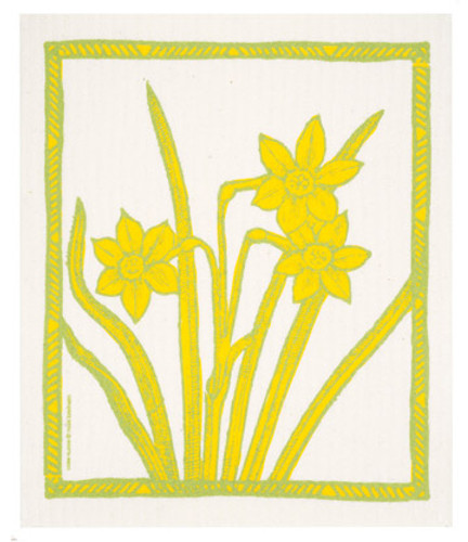 Swedish dish cloth, Daffodills design